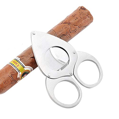 JAY-LONG Ergonomie-Zigarrenschneider, Tragbarer Zweischneidiger Zigarrenschneider, Edelstahl-Scheren-2 Blatt-Schneider-Maschine, Verwendbar Für Die Meisten Zigarren