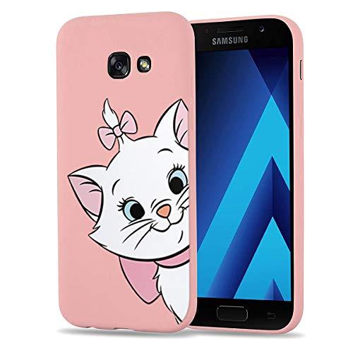 Pnakqil Samsung Galaxy A5 2017 Cover,Custodia per Samsung Galaxy A5 2017 in Silicone TPU Slim Cover Case Antiurto Anti-Graffio Ultra Sottile Back Case Cellulare Rosa Chiaro,Gatto 01
