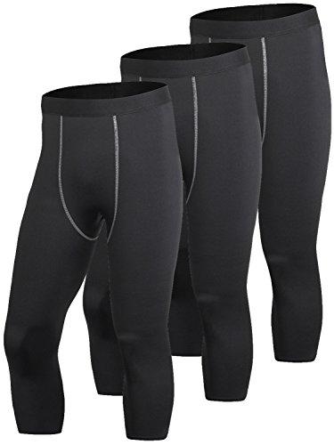 Yuerlian - Pantalones Cortos de compresión 3/4 Capri para Hombre, Hombre, Negro, US XL(Asia XXL)