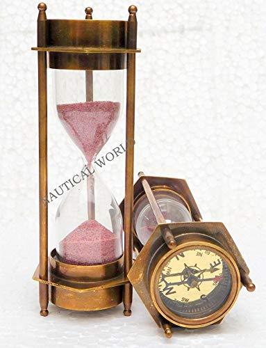 Sanduhr aus Messing, handgefertigt, 3 Minuten, aus Massivmessing, mit beidseitigem Kompass, klassische Sanduhr