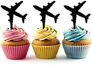 Airplane Silhouette Acrylic Cupcake Toppers 12 pcs