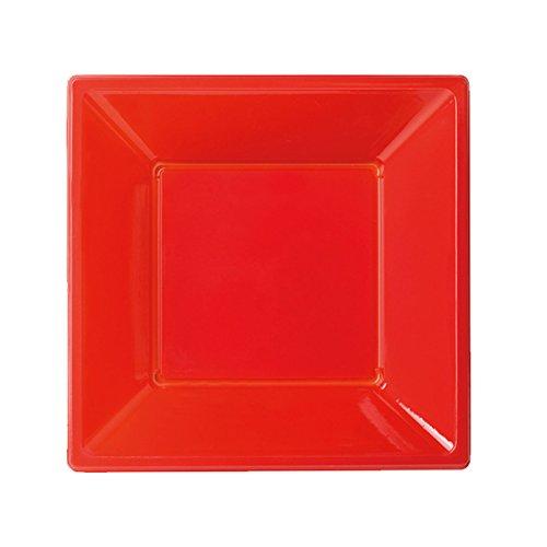 Assiette plastique carree rouge 18 cm - Lot de 8