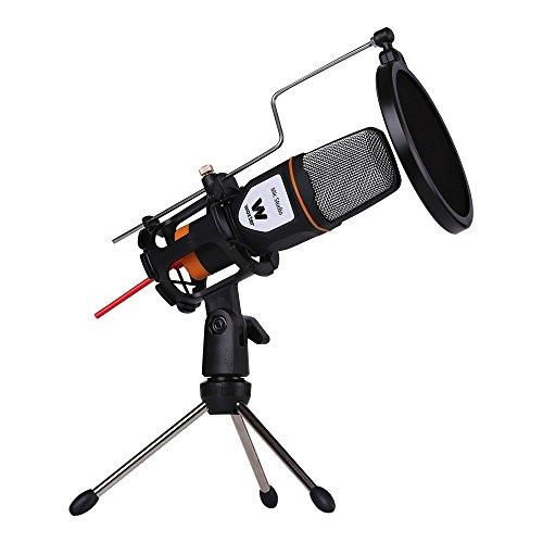 WOXTER Mic Studio Black - Micrófono Condensador Profesional para Ordenador. Entrada: 3.5mm, trípode Ajustable en inclinación V/H, Color Negro