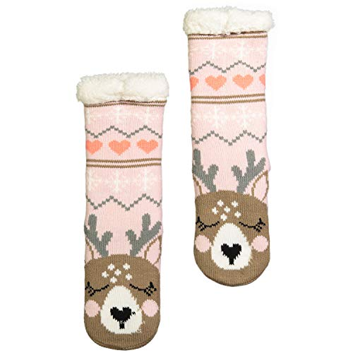 Fuzzy Babba Big Girls Cozy Warmer Critter, light pink reindeer, Fits sock size 6-8.5 Fits Shoe Size 7.5-3.5