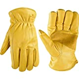 Wells Lamont Men's Winter Work Gloves, | Puncture & Abrasion Resistant | 100-gram Thinsulate, Cowhide Leather, Fleece-Lined Leather | Large (1108L) , Yellow
