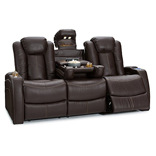 Seatcraft Republic Home Theater Seating - Top Grain Leather - Power Recline - Power Headrest - Center Fold Down Table - Cupholders - AC, USB, Wireless Charging - in Arm Storage (Sofa, Brown)