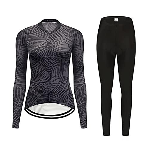Conjunto de Maillot de Ciclismo para Mujer, Jersey De Ciclismo Para Mujer, Camisetas De Manga Larga, Jersey Deportivo Transpirable Para Montar En Bicicleta Y Pantalones Para Montar En Bicicleta De Mon