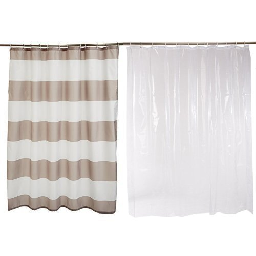 Amazon Basics Shower Curtain with Hooks, 72-Inch, Gray Stripe & Shower Curtain Liner, Clear