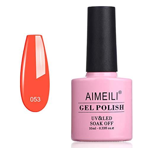 AIMEILI Esmalte Semipermanente De Uñas Soak Off UV LED Uñas De Gel - Neon Orange Zest (053) 10ml