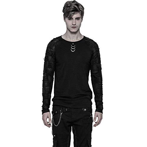 Punk Rave Black Gothic Punk Men's Long Sleeves Casual T-Shirt (Medium)