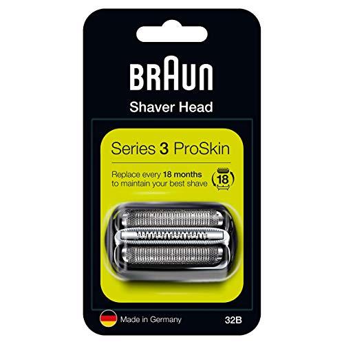 Braun Series 3 32B Testina Di Ricambio Per Rasoio Elettrico Uomo, Nero, Compatibile Con I Rasoi Series 3 ProSkin