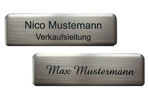 Schmalz Werbeservice Aluminium - Kunststoff-Namensschilder incl. Gravur mit Magnet silberfarbig Größe 70x20 mm (silberfarbig)