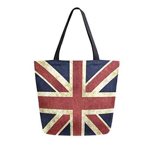 Mnsruu Wasserfarbe, britische Flagge, wiederverwendbare Einkaufstasche, für Damen, große lässige Handtasche, Schultertasche für Einkaufen, Lebensmittel, Reisen im Freien