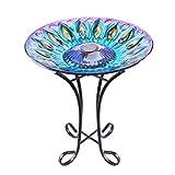 VCUTEKA Glass Bird Bath Outdoor Solar Birdbath with Metal Stand for Garden Lawn Yard Decoration