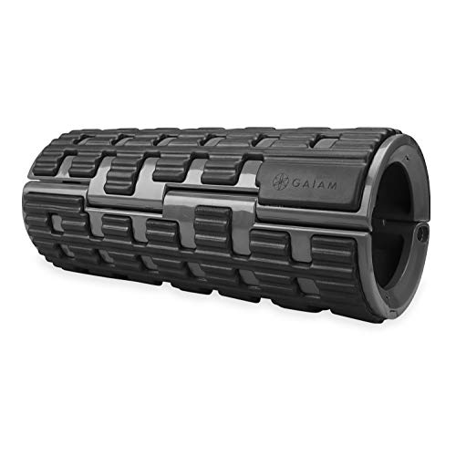 """Gaiam Restore Foam Roller - Collapsible Travel Massage Roller   Heavy-Duty Folding Muscle Roller Comes Apart for Easy Storage & On-The-Go Use   13"""" L x 5"""" D, Grey/Black"""