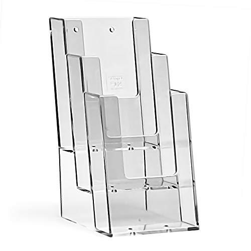 taymar 1/3 A4 Tisch-Prospektständer Flyerständer Prospekthalter 3 Fächer (Innenmaß: 10.4 cm) optionale Wandmontage