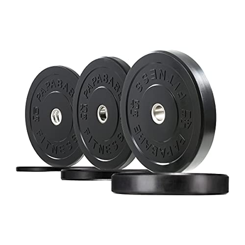 papababe Bumper Plates 2 inch Bumpers Olympic Weight Plate with Steel Insert Bumper Weights Set Free Weight Plates (160 lb Set)