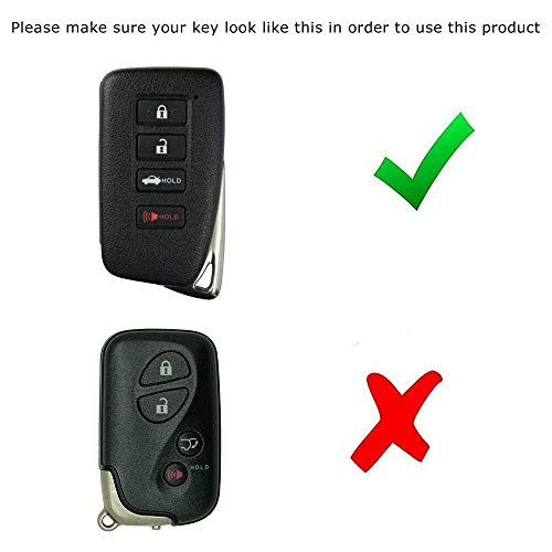 iJDMTOY Carbon Fiber Pattern Soft Silicone Key Fob Cover Compatible With Lexus IS ES GS RC NX RX LX 200 250 350 2nd Gen 4-Button Smart Key (Black Twill Weave)