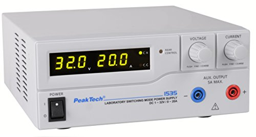 PeakTech 1535 – Labornetzgerät DC 1-32V / 0-20A mit 3-stelliger LED-Anzeige, DC-Schaltnetzteile, Stromversorgung, 3 Voreinstellungen für Strom- & Spannungswerte, Überlastungsschutz - 200 ~ 240 V AC