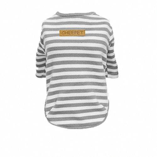 T-shirt en Coton Classique Rayure Sans Doublure Vêtements D'automne Chien Chat - gris, S