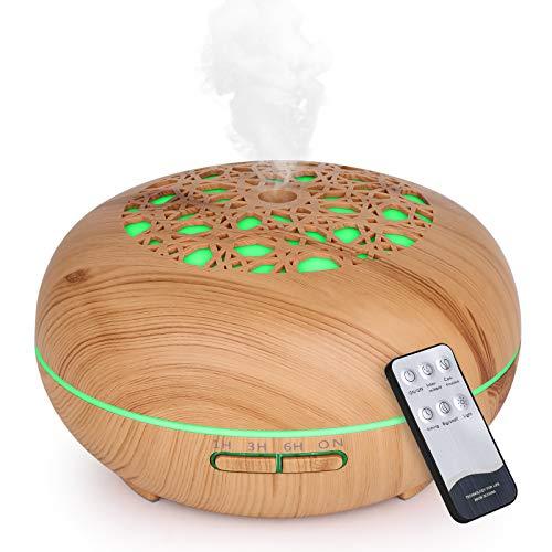 WD&CD Aroma Diffuser Luftbefeuchter 550ml mit Fernbedienung, Ultraschall Vernebler Duftlampe Öle Diffusor mit 7 Farben LED Wasserlose Abschaltautomatik - Leichte Holzmaserung