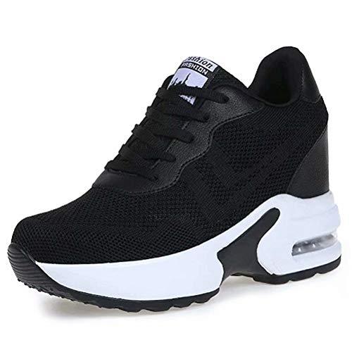 AONEGOLD Zapatillas de Deporte Transpirables Mujer Zapatillas de Cuña para Alta Talón Plataforma 8.5 cm Wedge Sneakers 9522 Negro 40 EU