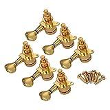 エレキギターマシンヘッド取り付けネジと6つの小品6Rのノブ文字列チューニングペグロッキング・チューナーパックとフェルールゴールド チューナー メトロノーム 高精度 アクセサリー 実用 プレゼント (Color : Gold)