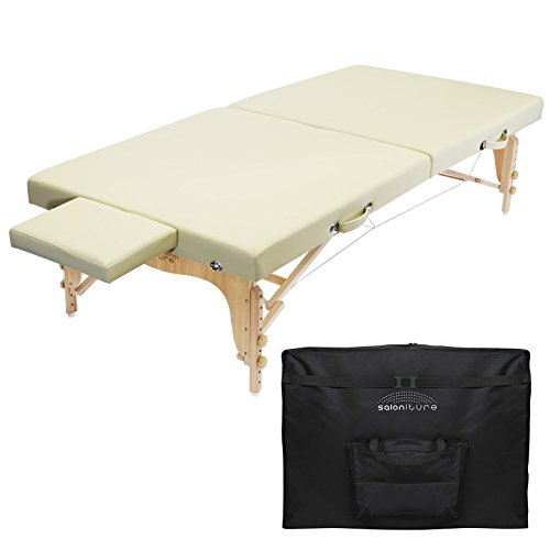 Saloniture Portable Physical Therapy Massage Table - Low to Ground Stretching Treatment Mat Platform - Cream