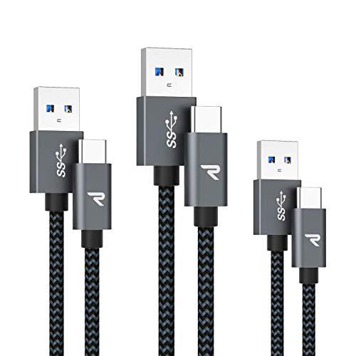 RAMPOW Cable USB C Cable USB Tipo C [0.2M+1M+2M] Cargador USB C a USB 3.0 Carga Rápida y Sincronización para Samsung Galaxy, Xiaomi Mi A1/Mi A2, LG, HTC, Sony Xperia XZ y más - Gris Espacial