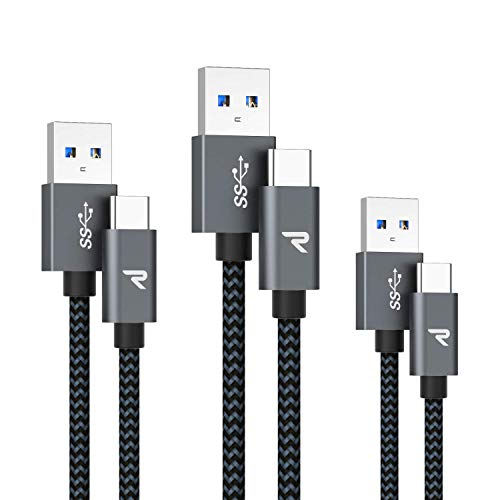 RAMPOW Cavo USB Type-C, Cavo Tipo C USB 3.0 [0.2M+1M+2M] Carica Rapida per Samsung S9 / Note 8 / S8, Huawei P10 / P9, Xiaomi, Google Chromebook Pixel ed Dispositivi USB C - Grigio Siderale