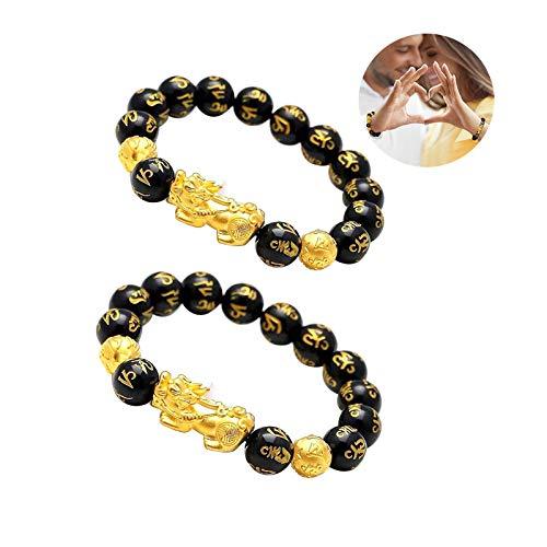 Feng Shui Pulsera De Riqueza De Obsidiana Negra Pi Xiu Pi Yao Atraer La Riqueza Buena Suerte con Pulsera De Cuentas De Mantra Tallada A Mano para Mujeres Hombres Buena Suerte Riqueza (2PCS)