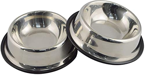 Steel Dog Bowl with Rubber Base ...