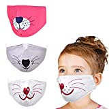 YUESUO 3pcs Kids Face Cloth Mask Reusable Washable, Adjustable Anime Childrens face mask for Cotton Boys Smiley Girls Baby Mouse Breathable Big Kids Youth Cat Dog Best Ear Loops Kawaii