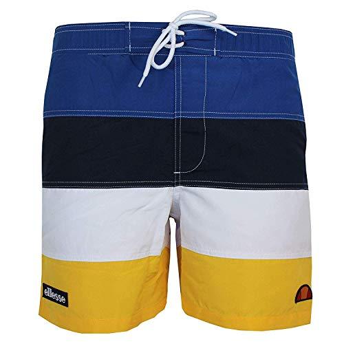 ellesse Portofino Herren Gelb Marineblau und Weiß Badehose - Gelb, XS