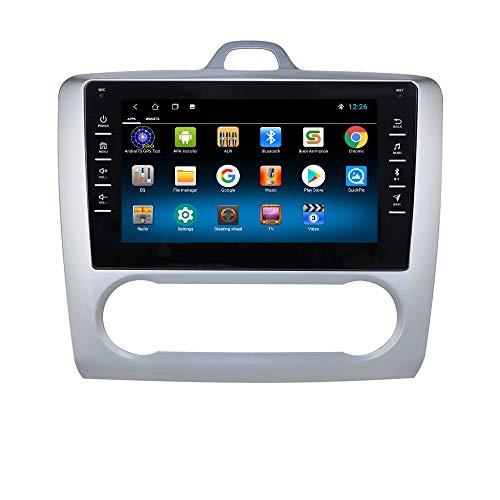 1+16GB Android 10 Car GPS Radio Stereo con 8 Pulgadas 1080P Pantalla táctil Compatible con Ford Foucs Exi AT 2004-2011 Soporte Bluetooth Control del Volante Plata