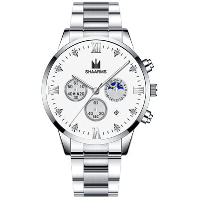 ZRSJ Reloj de cinturón de Acero de los Hombres Calendario de Negocios Cinturón de Relojes Relojes Hombres(a)
