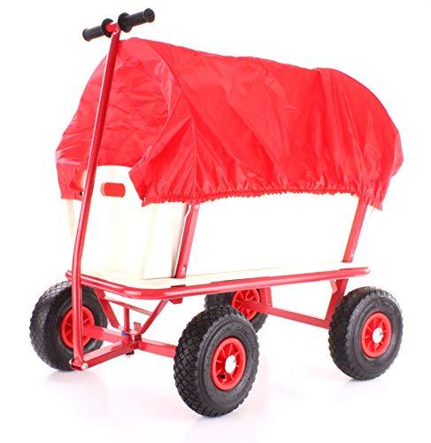 RAMROXX 34186 Holz Handwagen Planwagen Bollerwagen mit Abdeckung bis 80 Kg