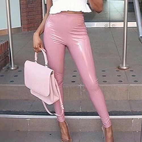Astemdhj Leggings Pantalones Fitness Yoga Leggings Mujer Cintura Alta Skinny Fitness Pantalones Casuales Mujeres Push Up Slim Gym Solid XXL Pink