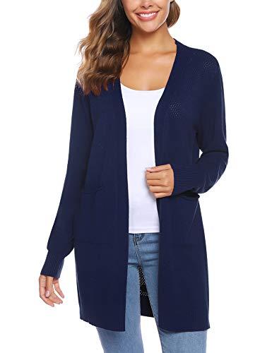 Sykooria Cardigan Strickjacke Feinstrick Damen Langarm Leicht Komfortabel Freizeit Einfarbig Outwear Blau mit Tasche