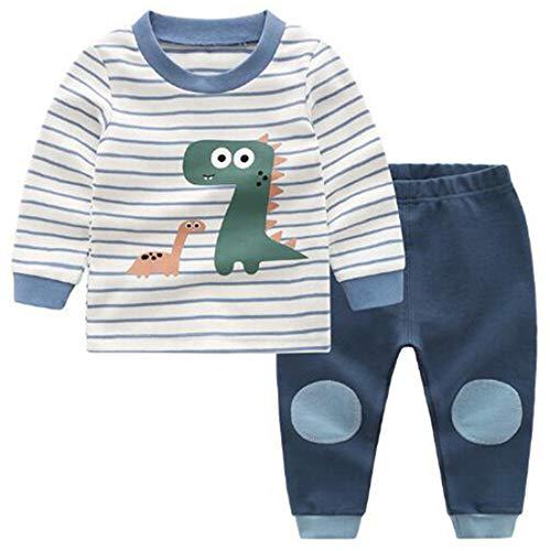 Chilsuessy Jungen Zweiteiliger Schlafanzug Bio Baumwolle Schlafanzug lang - langärmeliger Baby Pyjama Langarm Kinder Winter Lange Nachtwäsche Kind Pyjama, Blau, 110/Babyhöhe:100-110cm