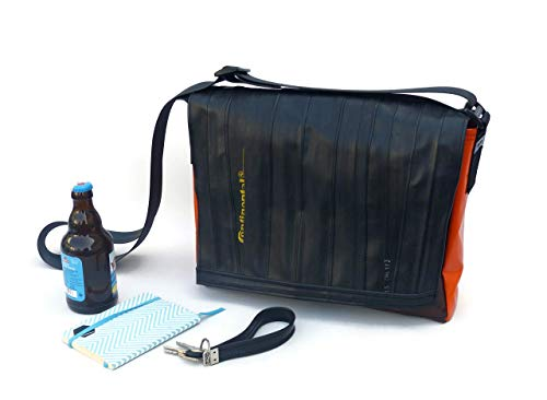 Bikebag L - Schultertasche/Messengerbag Upcycling aus Fahrradschlauch und LKW-Plane braun-rot-orange