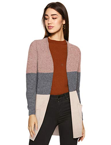 ONLY Damen onlQUEEN L/S Long Cardigan KNT NOOS Strickjacke, Mehrfarbig (Misty Rose Stripes:W. MGM/Cloud Pink Melange), 40 (Herstellergröße: L)