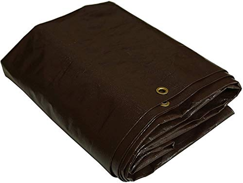 WHITEDUCK Super Heavy Duty Poly Tarp Cover Thick 16 Mil, Waterproof, UV Resistant, Rot/Rip/Tear Proof Tarpaulin (Cut Size: 15' x 15', Finished Size: 14'6' x 14'6', Dark Brown)