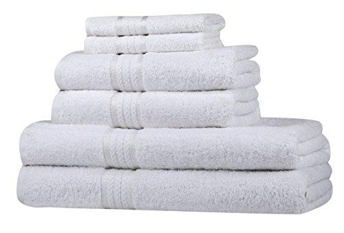 Set asciugamani morbidi Sweet Needle Super Soft 6 pezzi Bianco, 100% cotone, peso pesante con rifiniture in rayon - 2 grandi asciugamani da bagno 70x140, 2 asciugamani 50x90, 2 salviette 30x30 CM