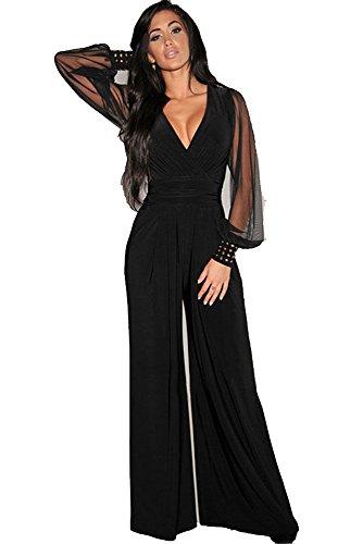 Mono Mujer Largo - Jumpsuit Elegante para Ceremonia y Eventos, Novia o Dama de Honor - para Fiesta Discoteca Moda Baile (S, Negro)