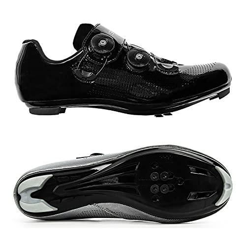 DSMGLRBGZ Zapatos de ciclismo, 38-47 con hebilla giratoria de zapatos de malla transpirable hombres zapatos mujeres, bicicleta de carretera hombres zapatos, ciclismo spinning zapatos, negro, 38