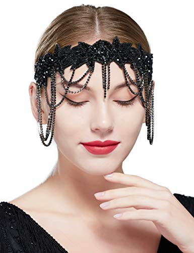 Coucoland 1920s Stirnband mit Anhänger Kette Damen 20er Jahre Stil Stirn Kette Flapper Charleston Elastisch Haarband Great Gatsby Damen Fasching Kostüm Accessoires (Stil 1 - Schwarz)