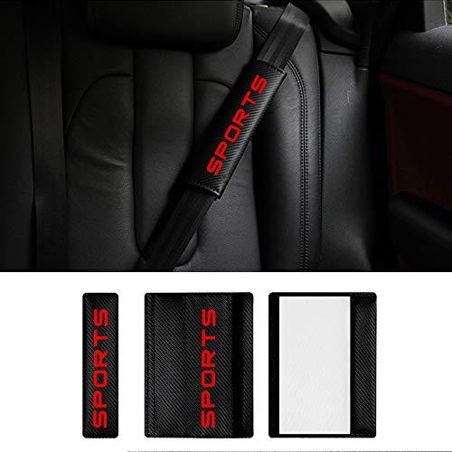 8X-SPEED para Focus Almohadillas para Cinturón de Seguridad de Fbra de Carbono Cubierta de Correa de Asiento Extraíble y Lavable para Mochila Cojín Hombro Funda 2 Piezas Rojo