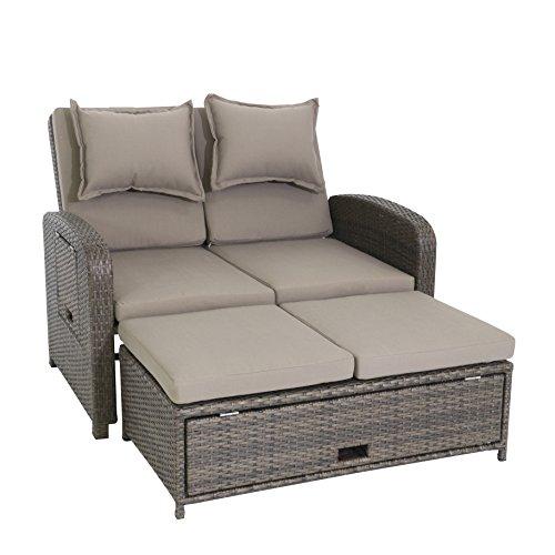 greemotion Rattan-Lounge Bahia Rondo, Sofa & Bett aus Polyrattan, indoor & outdoor, 2er Garten-Sofa mit Stahl-Gestell, Daybed, braun-beige