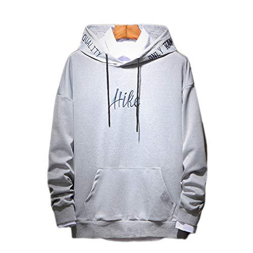 QJKai Frühling und Herbst Männer Hoodie Jugend Trend einfarbig Pullover Student Sleeve Tunika Jacke